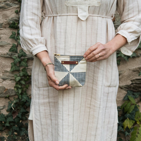Custom Pouch with 1930s Quilt Block: Vesper