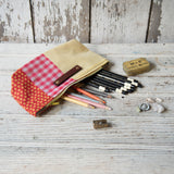Essentials Pouch with Vintage Textile Mashup: Birgitta