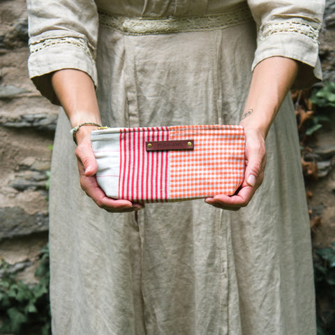 Essentials Pouch with Vintage Textile Mashup: Molly