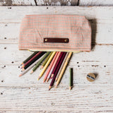 Essentials Pouch with Early 1900s Scrap Textile: Apricot