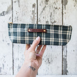 Drafter Pouch with early 1900s Tea Towel Textile: Indigo