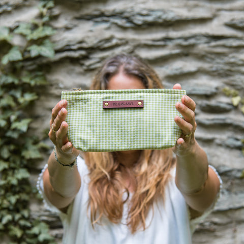 Essentials Pouch with Early 1900s Scrap Textile: Grass