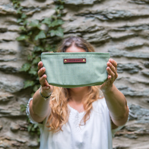 Essentials Pouch with 1950s Deadstock Textile: Malachite