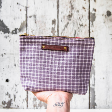 Keeper Pouch with 1800s Homespun Textile: Lilac