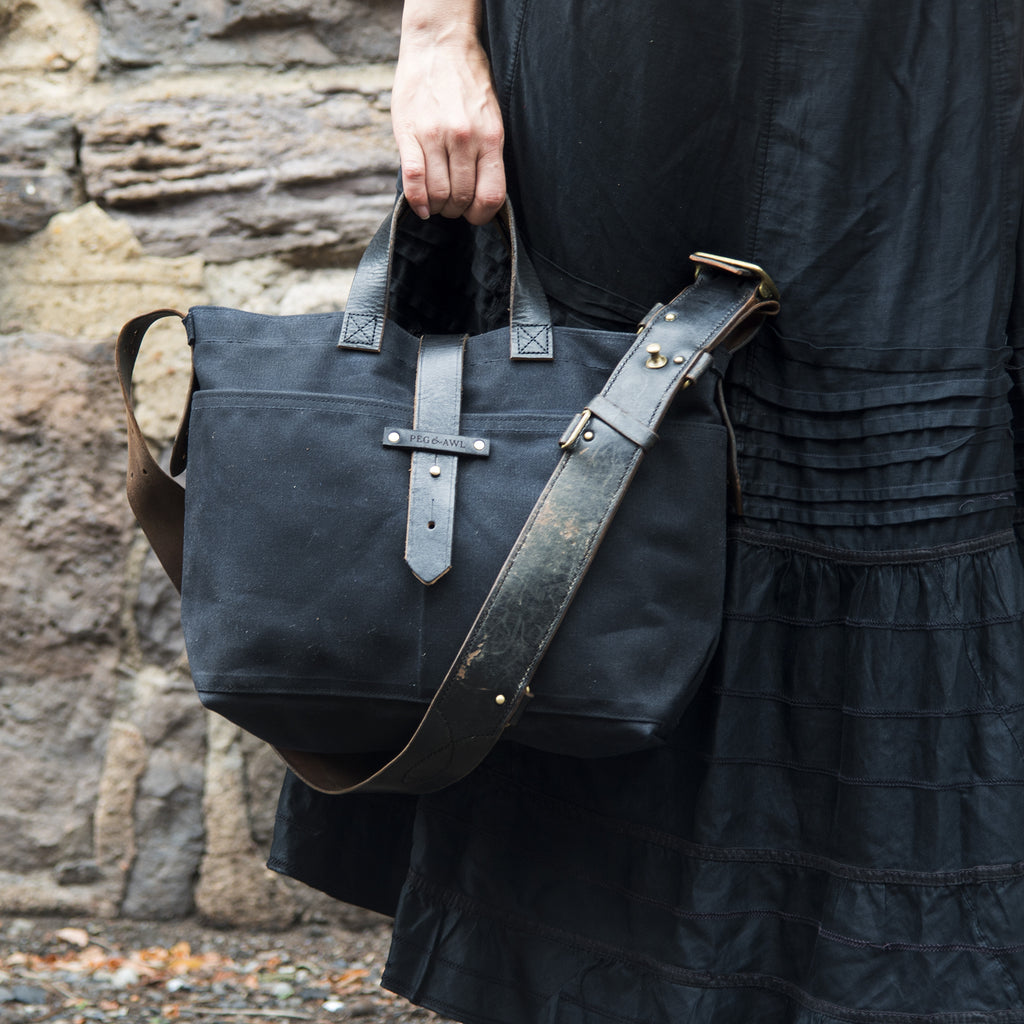 177c25244c10 All Black Waxed Canvas Tote with Reclaimed Strap
