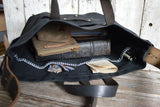 All Black Waxed Canvas Tote with Reclaimed Strap