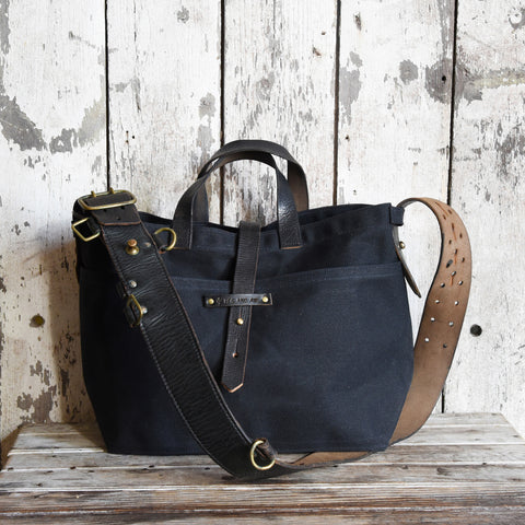 All Black Waxed Canvas Tote