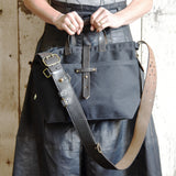 All Black Waxed Canvas Tote with Organic Leather