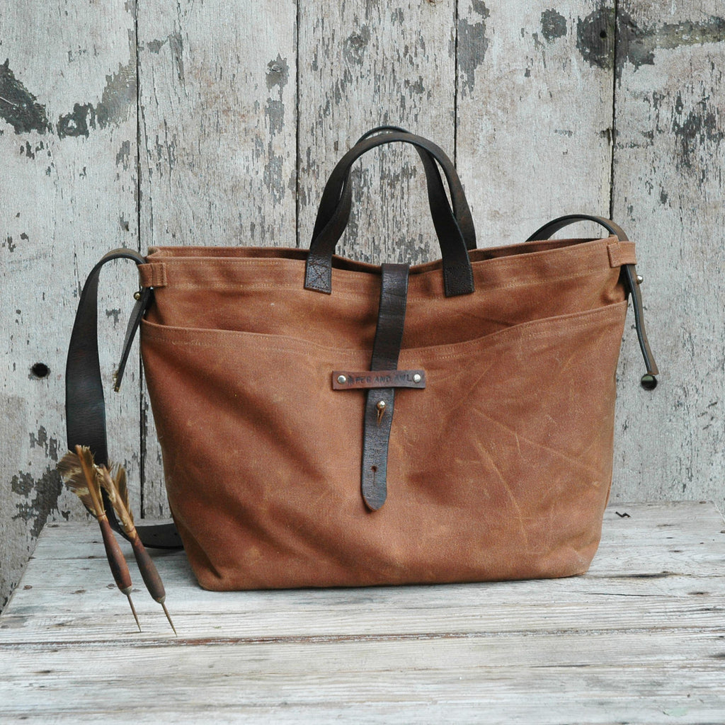 9ca912173df Antique Leather Waxed Canvas Tote