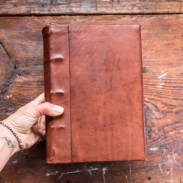 Large Hand-Bound Leather Tome
