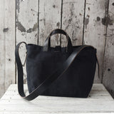 All Black Waxed Canvas Tote by Peg and Awl