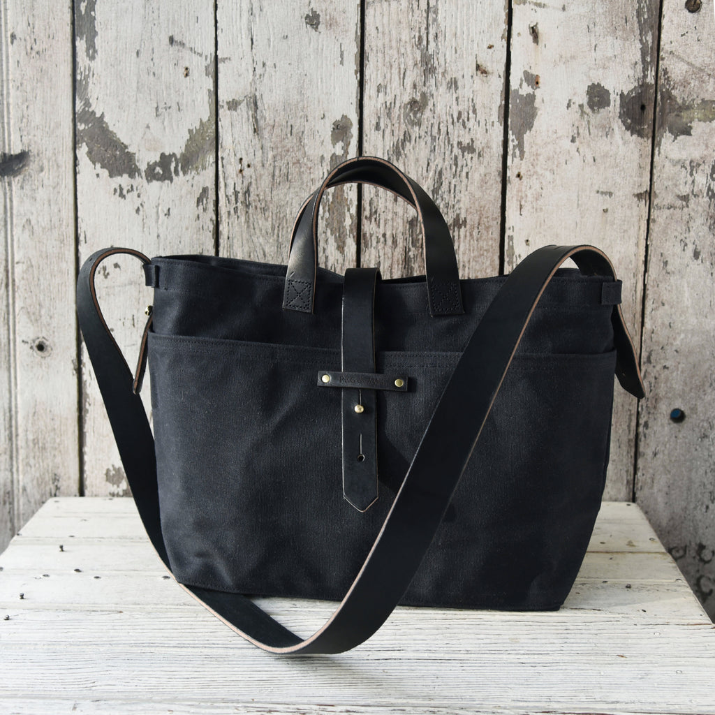550e571a6cf4 All Black Waxed Canvas Tote by Peg and Awl