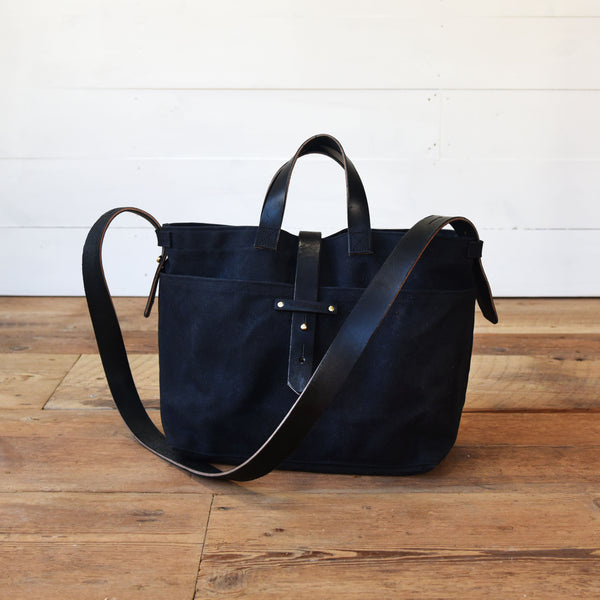 779834c4d All Black Waxed Canvas Tote by Peg and Awl