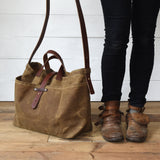 Large Waxed Canvas Tote without Zipper