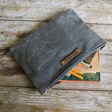 Antique Leather Large Waxed Canvas Pouch