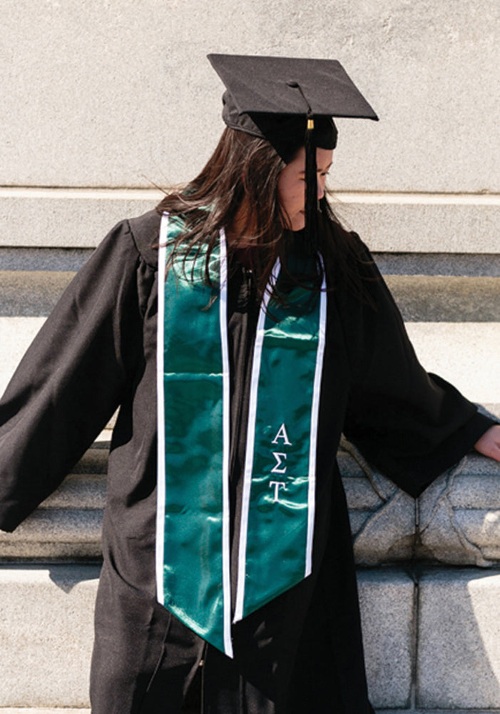 Emerald Graduation Stole with White Trim