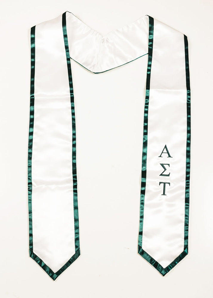 Classic White with Forest Trim Stole