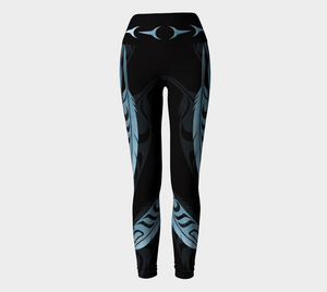 Feathers Faux Metallic Blue Legging