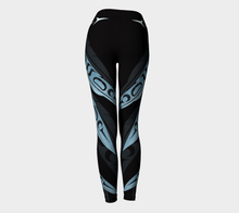 Load image into Gallery viewer, Feathers Faux Metallic Blue Legging