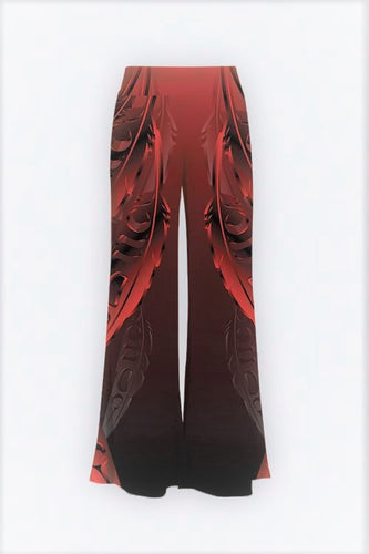 Feather 3D Red Palazzo Pants