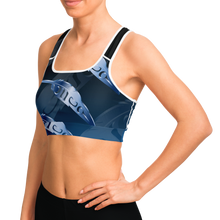 Load image into Gallery viewer, Feather 3D Blue Sportsbra