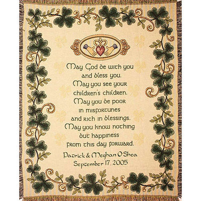 Personalized Irish Wedding Blessing Throw