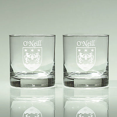 Personalized Etched Name and Coat of Arms Tumbler Glasses
