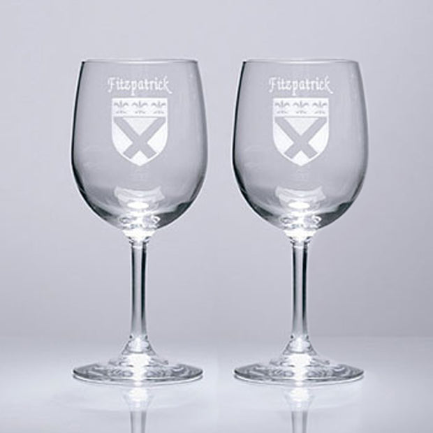 Personalized Etched Name and Coat of Arms Wine Glasses