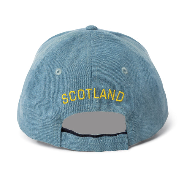 Denim Hat with Embroidered Lion