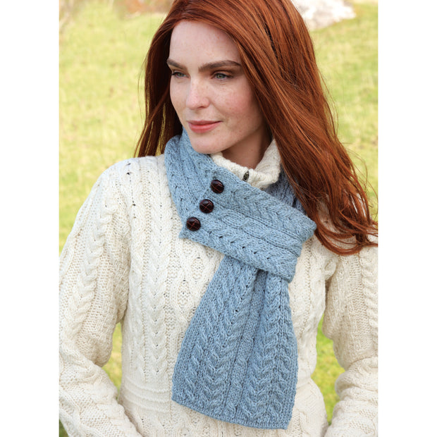 Light Blue Leather Button Scarf