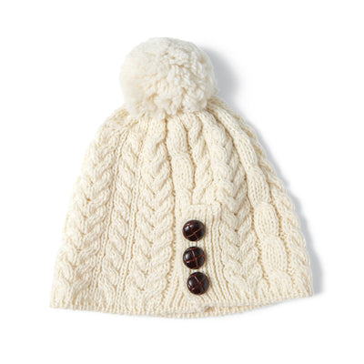 Cream Leather Button Beanie