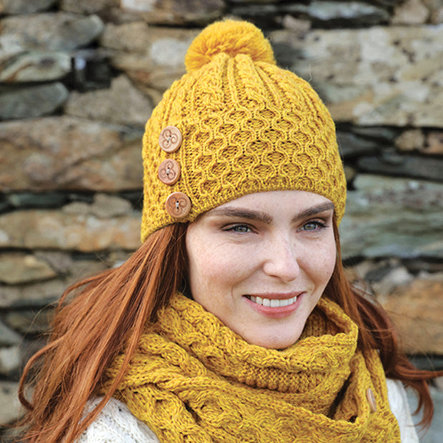 Irish Wool Mustard Beanie