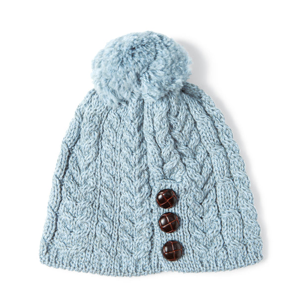 Light Blue Leather Beanie