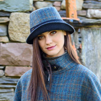 Navy Plaid Clodagh Hat