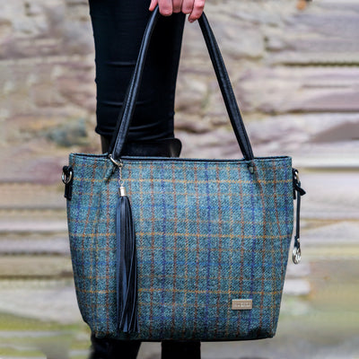 Navy Plaid Handbag