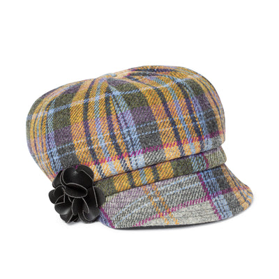 Yellow and Blue Plaid Newsboy Cap
