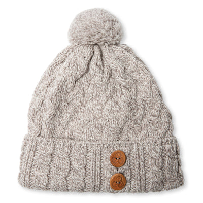 Aran Knit Button Beanie