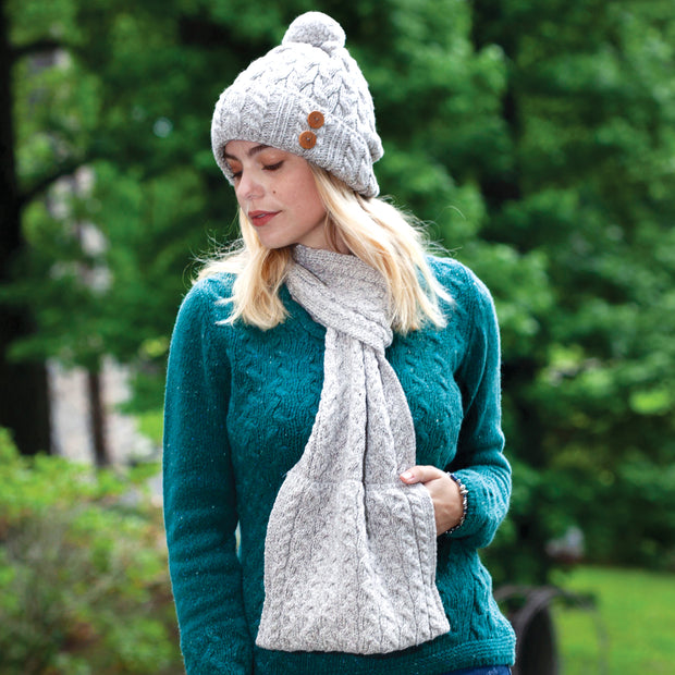 Aran Knit Scarf With Pockets