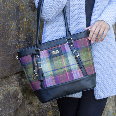 Purple Plaid Kelly Handbag