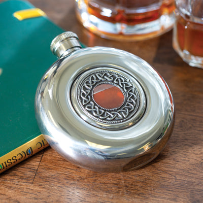 Celtic Weave Pewter Flask