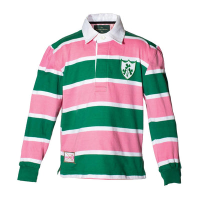 Children's Pink and Green Stripe Rugby