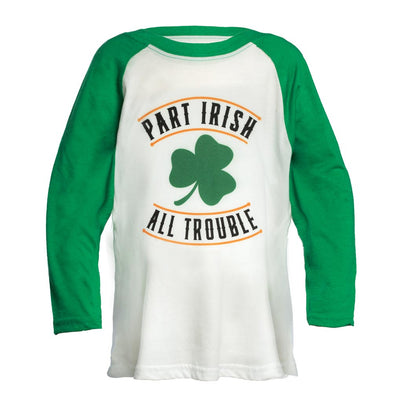 Kid's All Trouble Baseball Tee