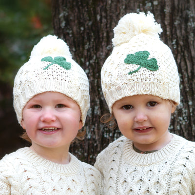 Child's Aran Shamrock Beanie