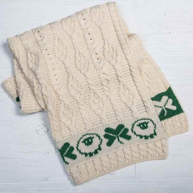 Sheep and Shamrock Wool Baby Throw