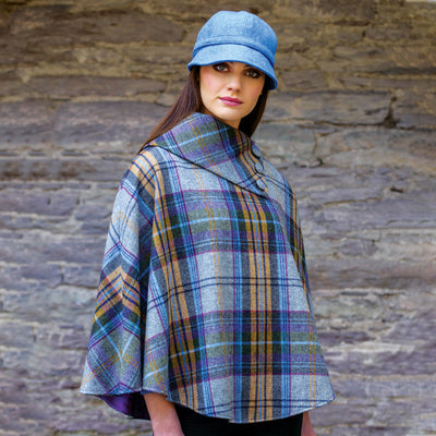 Yellow and Blue Plaid Poncho