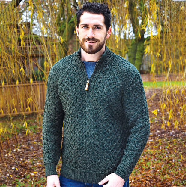 Green Quarter Zip Sweater