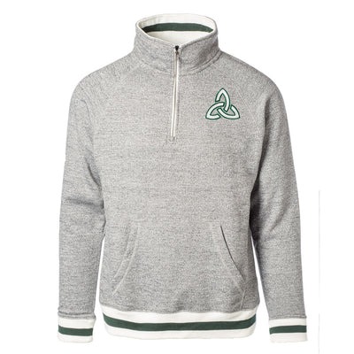 Quarter Zip Pullover with Green Stripe