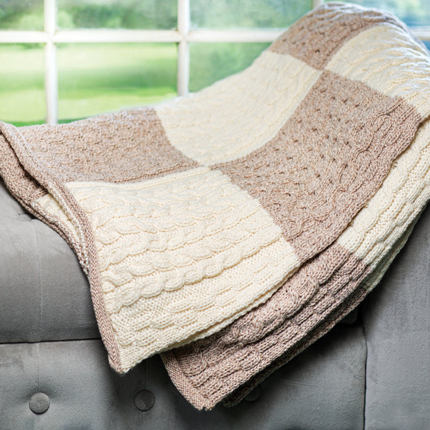 Aran Knit Colorblock Blanket