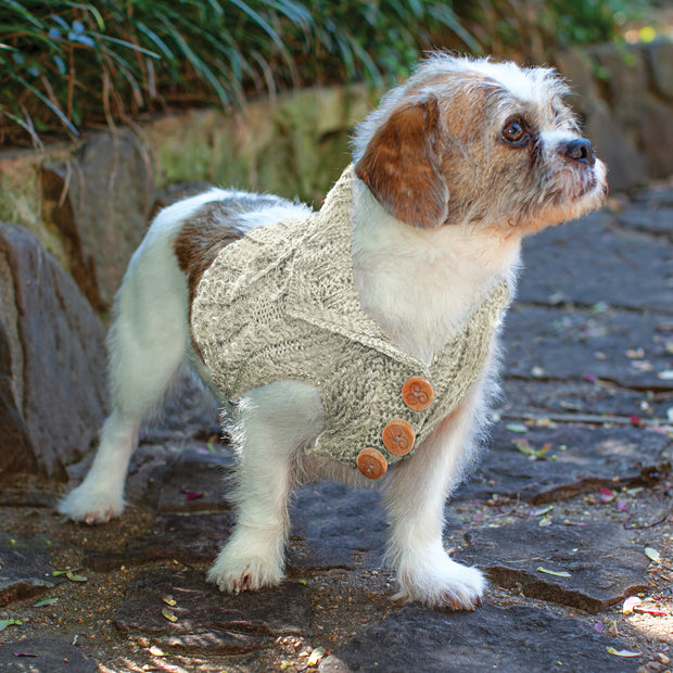 Dog Aran Knit Cardigan