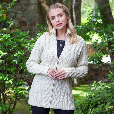 Zip Front Cardigan, Cream